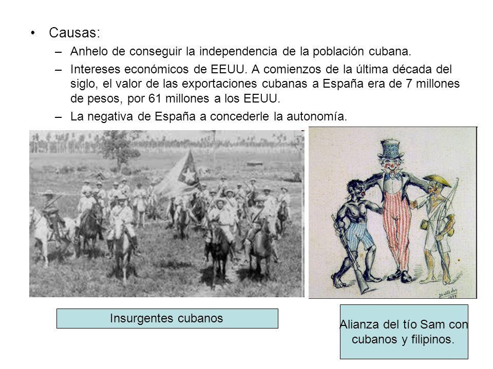 Causas: Anhelo de conseguir la independencia de la población cubana.