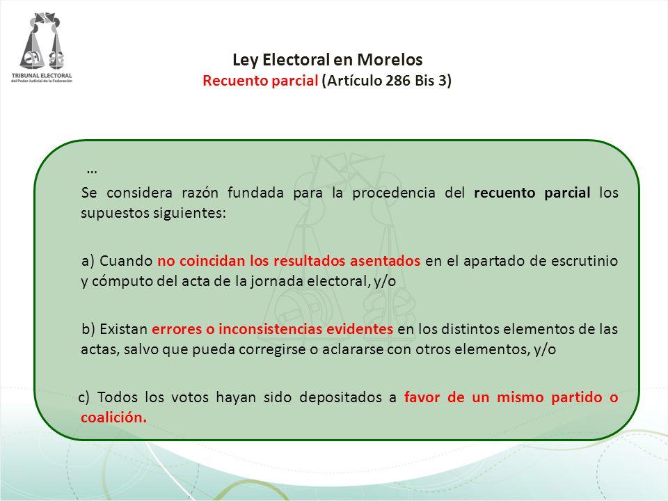 Ley Electoral en Morelos Recuento parcial (Artículo 286 Bis 3)