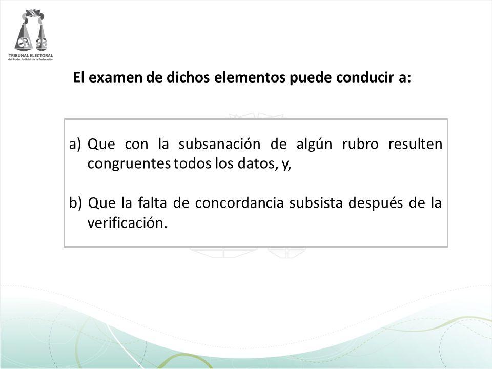 El examen de dichos elementos puede conducir a: