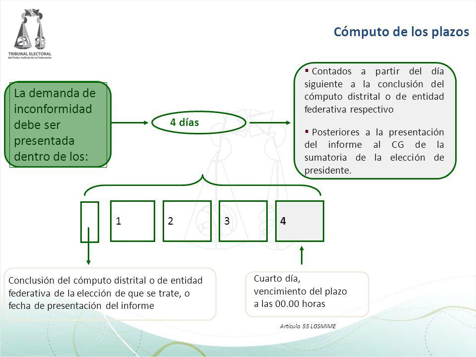 Cómputo de los plazos Contados a partir del día siguiente a la conclusión del cómputo distrital o de entidad federativa respectivo.