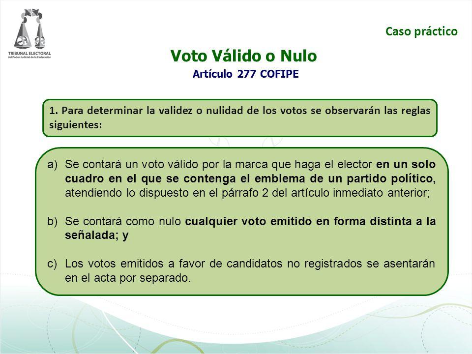 Voto Válido o Nulo Artículo 277 COFIPE