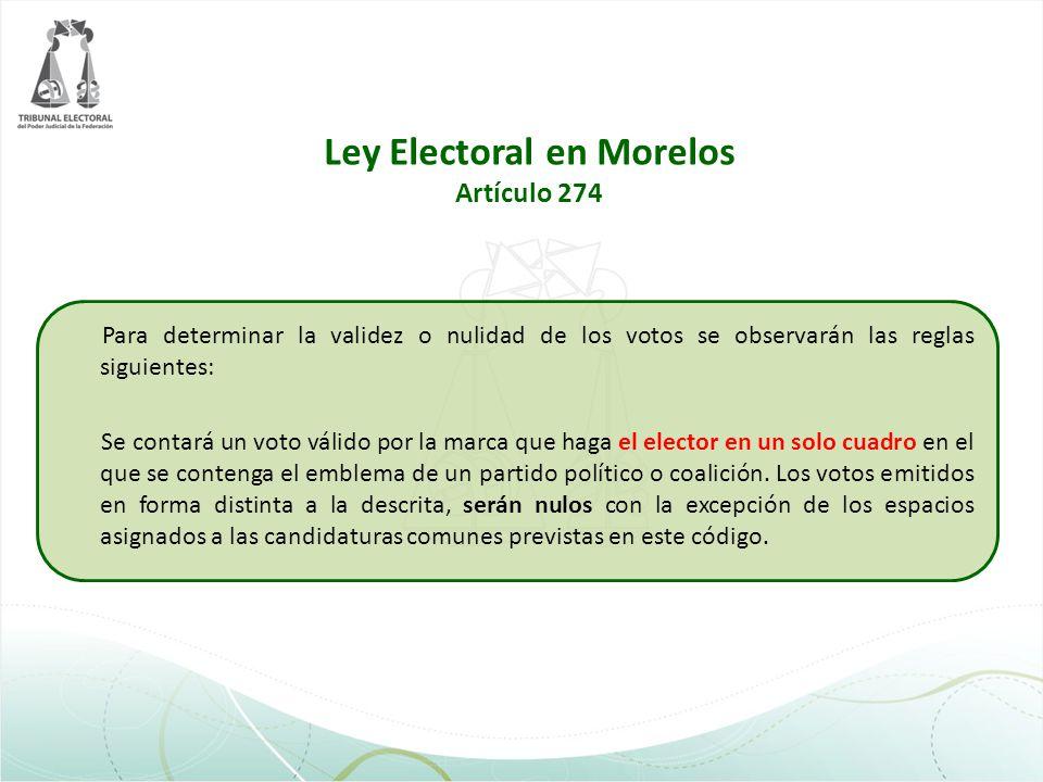 Ley Electoral en Morelos Artículo 274