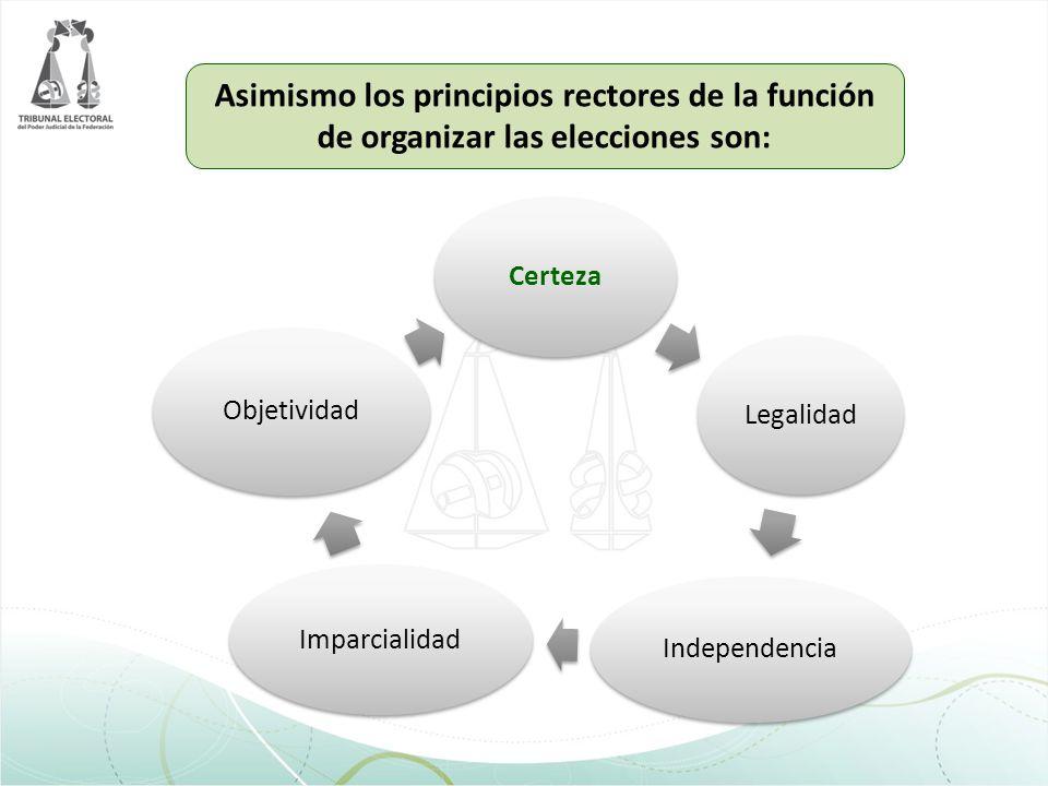 Asimismo los principios rectores de la función de organizar las elecciones son: