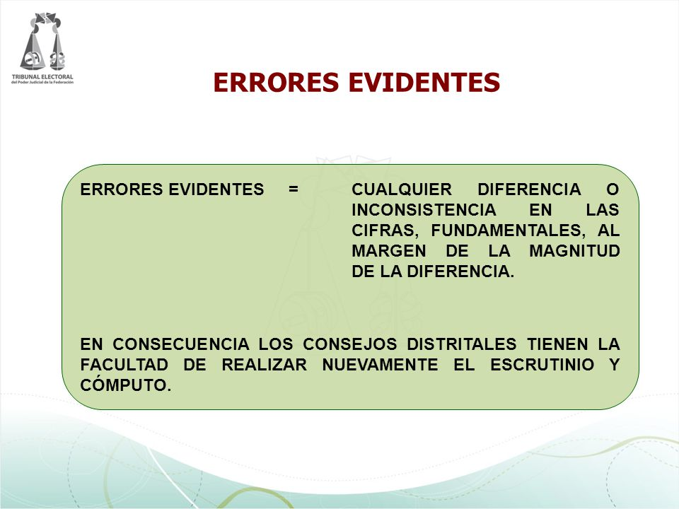 ERRORES EVIDENTES