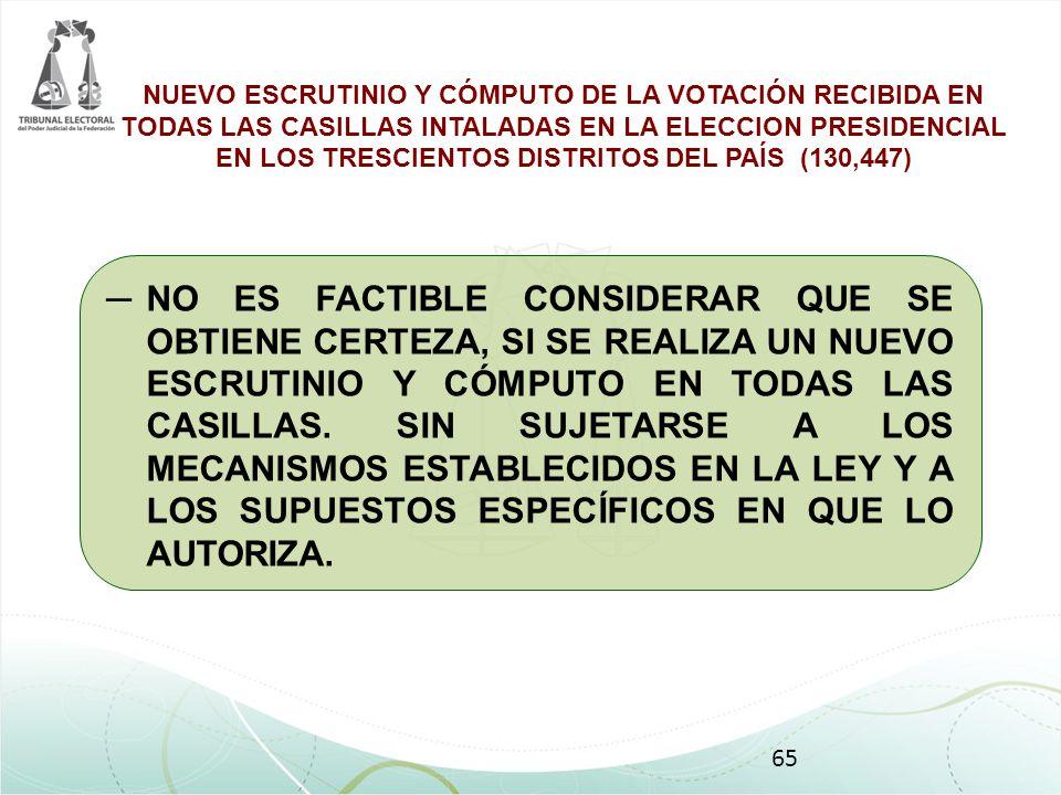 NUEVO ESCRUTINIO Y CÓMPUTO DE LA VOTACIÓN RECIBIDA EN TODAS LAS CASILLAS INTALADAS EN LA ELECCION PRESIDENCIAL EN LOS TRESCIENTOS DISTRITOS DEL PAÍS (130,447)