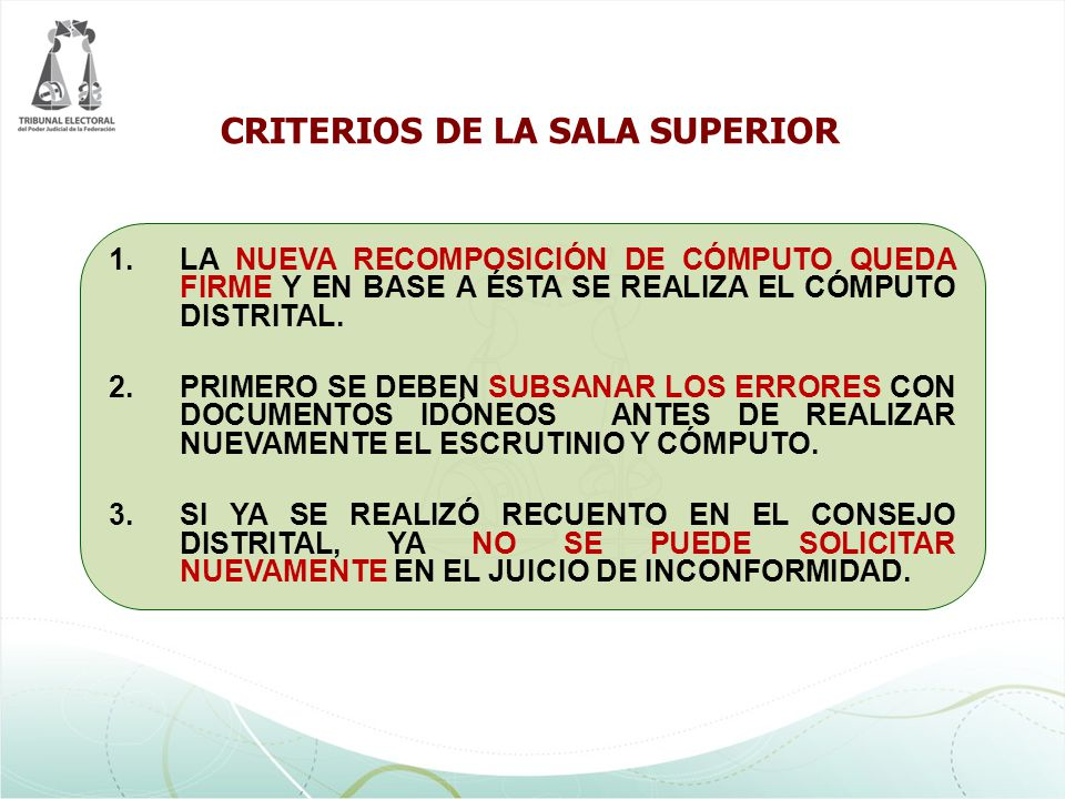 CRITERIOS DE LA SALA SUPERIOR