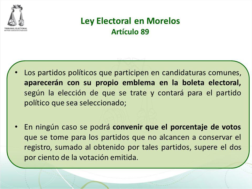 Ley Electoral en Morelos Artículo 89