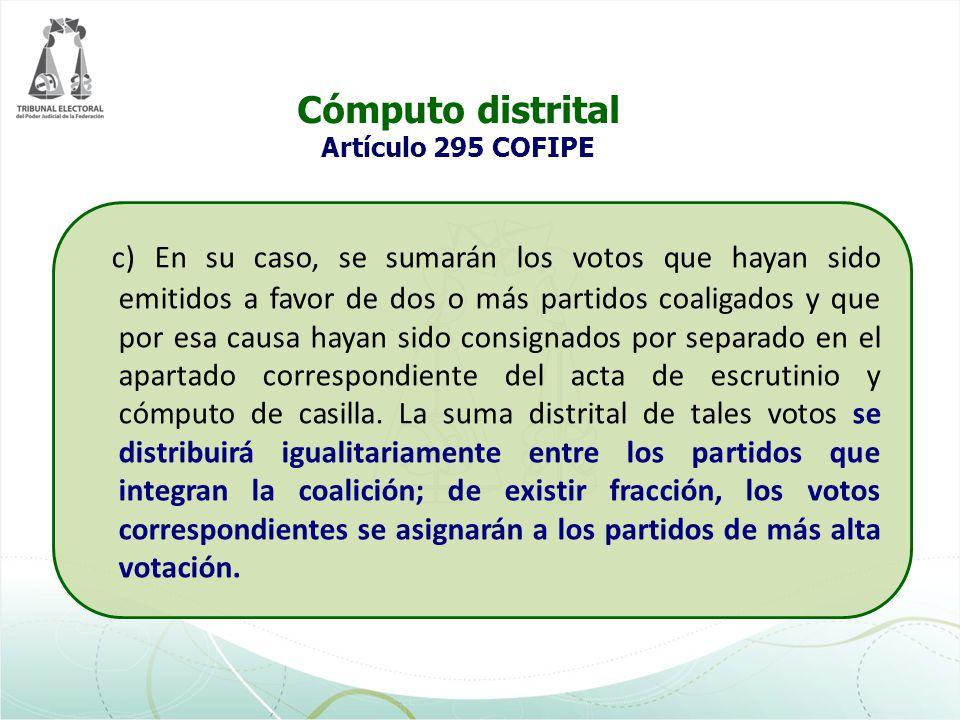 Cómputo distrital Artículo 295 COFIPE
