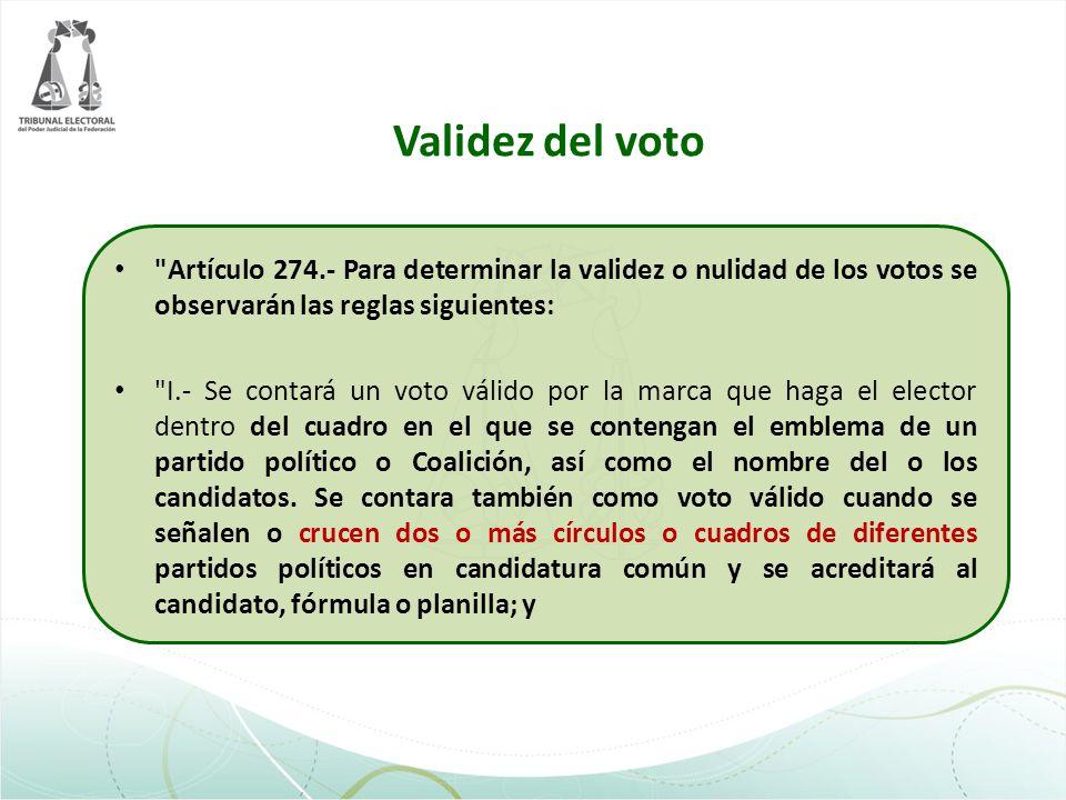Validez del voto Artículo 274.- Para determinar la validez o nulidad de los votos se observarán las reglas siguientes: