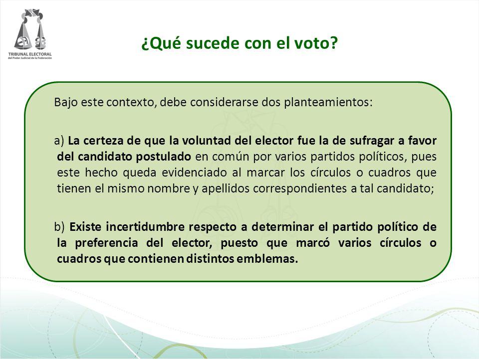 ¿Qué sucede con el voto Bajo este contexto, debe considerarse dos planteamientos: