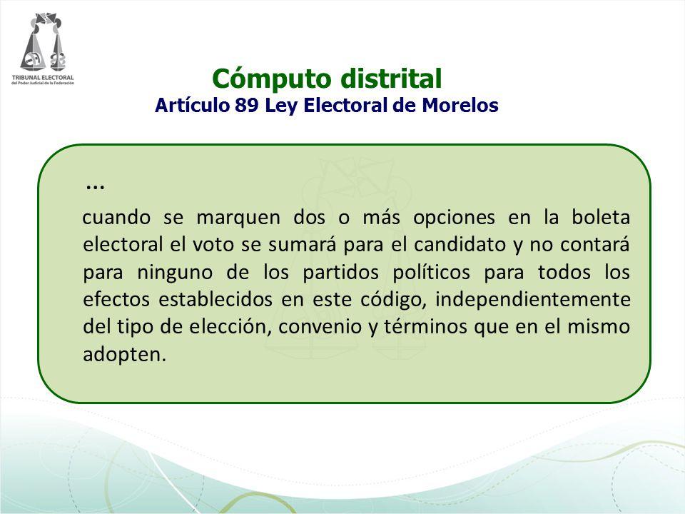 Cómputo distrital Artículo 89 Ley Electoral de Morelos