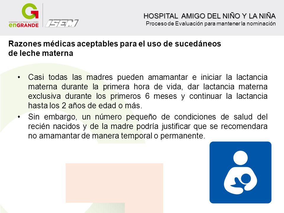 Razones médicas aceptables para el uso de sucedáneos de leche materna