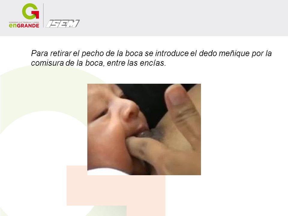 Para retirar el pecho de la boca se introduce el dedo meñique por la