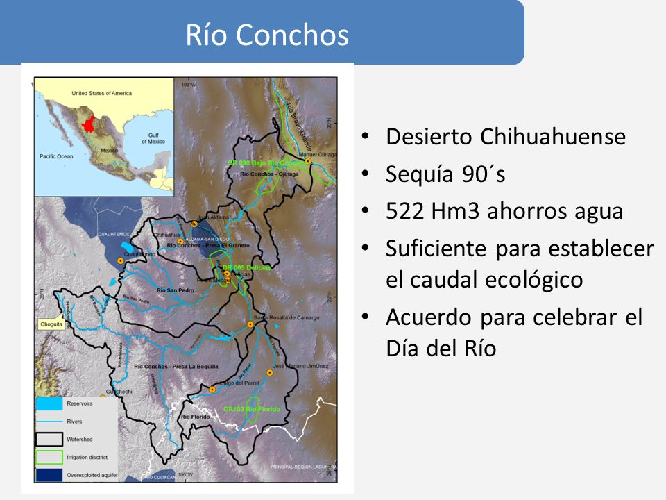 Río Conchos Desierto Chihuahuense Sequía 90´s 522 Hm3 ahorros agua