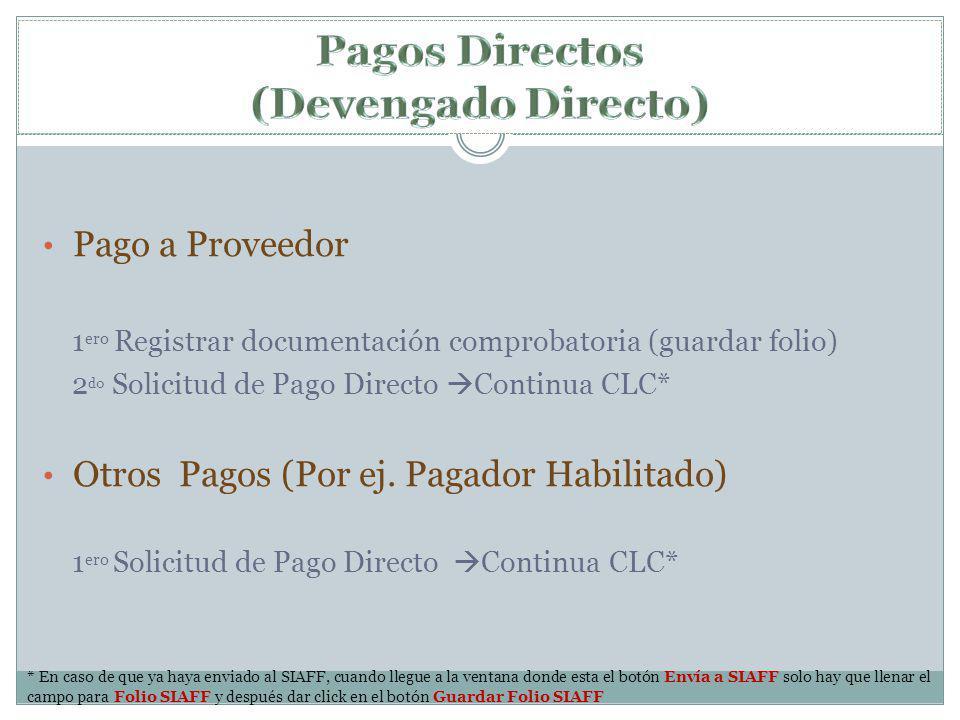 Pagos Directos (Devengado Directo)