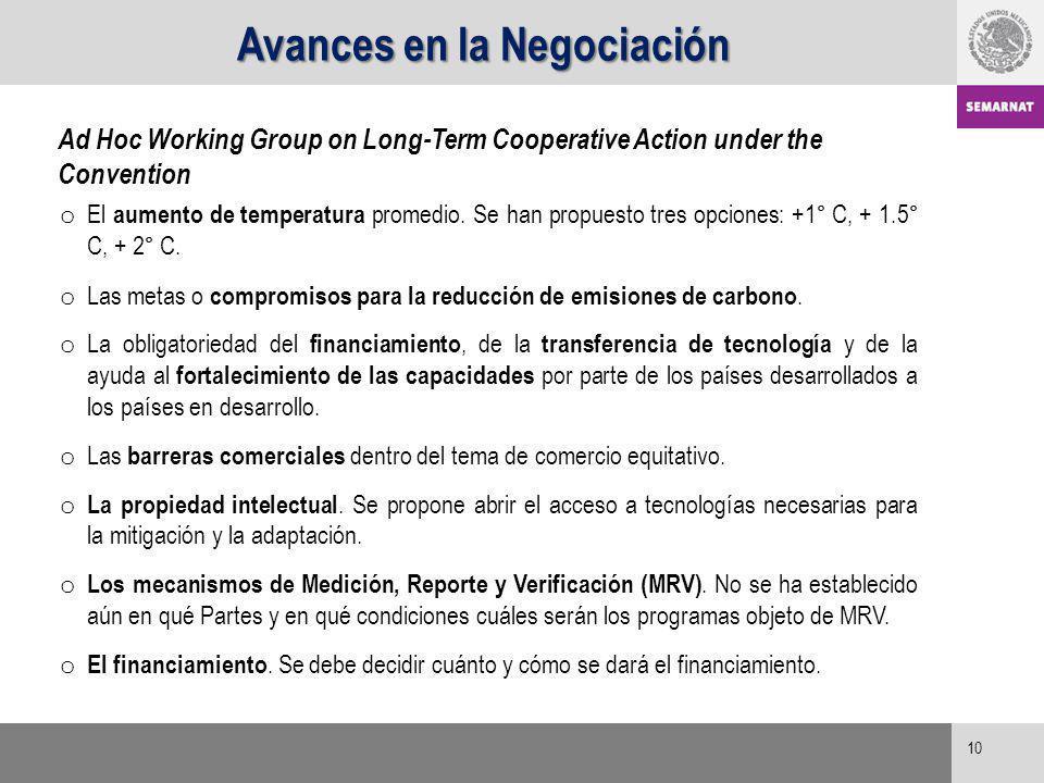 Avances en la Negociación