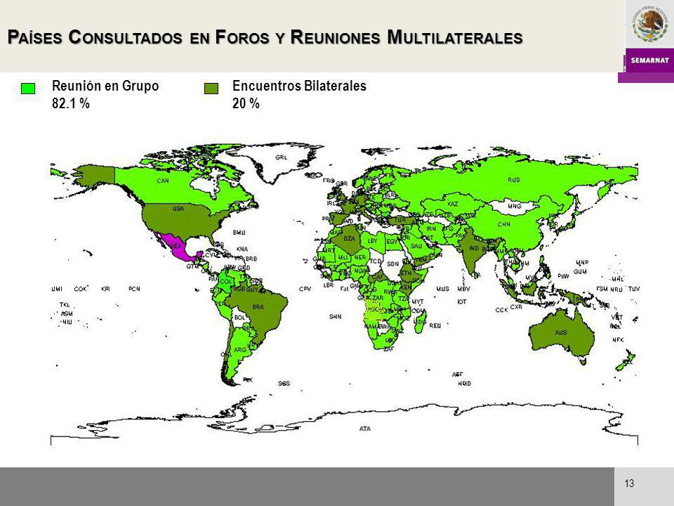 Países Consultados en Foros y Reuniones Multilaterales