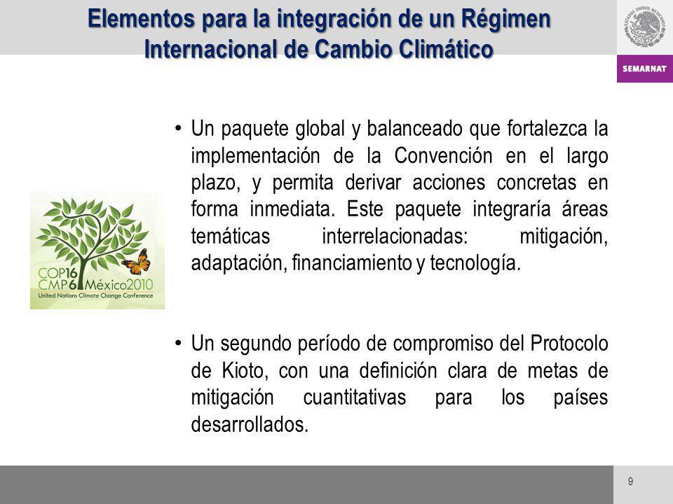 Elementos para la integración de un Régimen Internacional de Cambio Climático