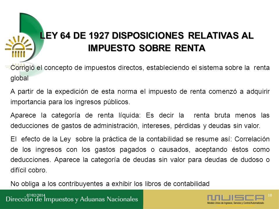 LEY 64 DE 1927 DISPOSICIONES RELATIVAS AL IMPUESTO SOBRE RENTA