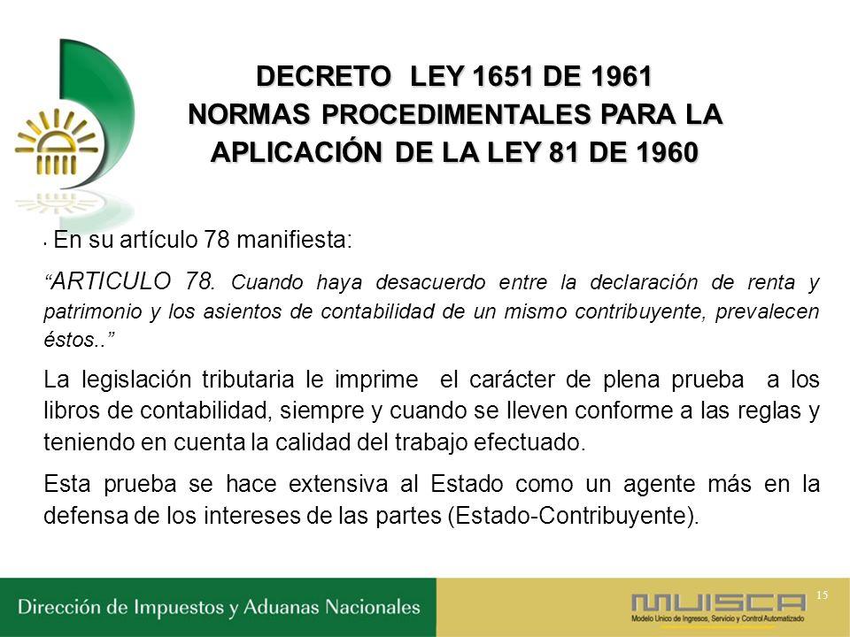NORMAS PROCEDIMENTALES PARA LA APLICACIÓN DE LA LEY 81 DE 1960
