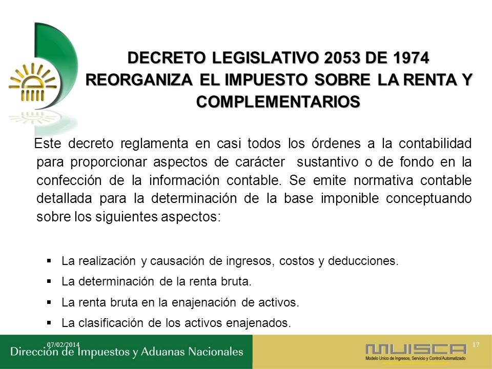 DECRETO LEGISLATIVO 2053 DE 1974 REORGANIZA EL IMPUESTO SOBRE LA RENTA Y COMPLEMENTARIOS
