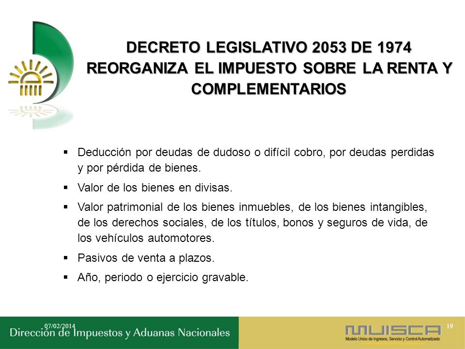 DECRETO LEGISLATIVO 2053 DE 1974