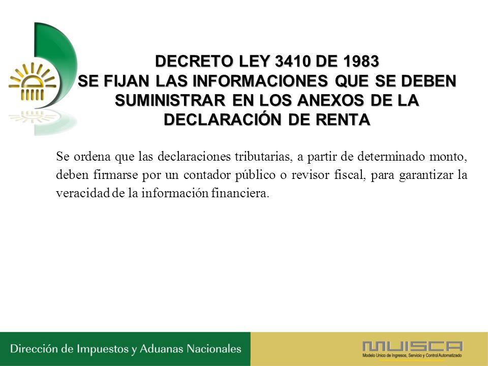 DECRETO LEY 3410 DE 1983 SE FIJAN LAS INFORMACIONES QUE SE DEBEN SUMINISTRAR EN LOS ANEXOS DE LA DECLARACIÓN DE RENTA