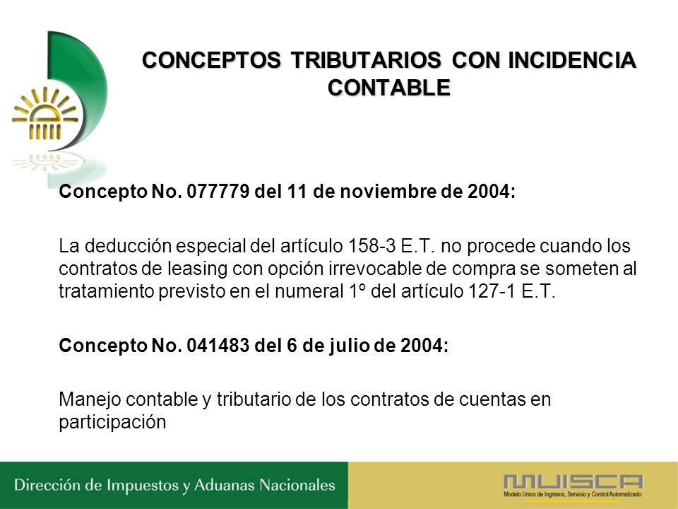 CONCEPTOS TRIBUTARIOS CON INCIDENCIA CONTABLE