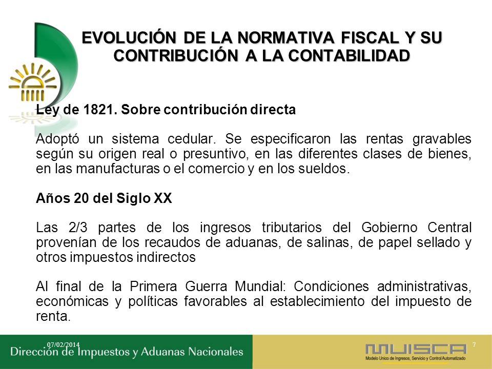 EVOLUCIÓN DE LA NORMATIVA FISCAL Y SU CONTRIBUCIÓN A LA CONTABILIDAD