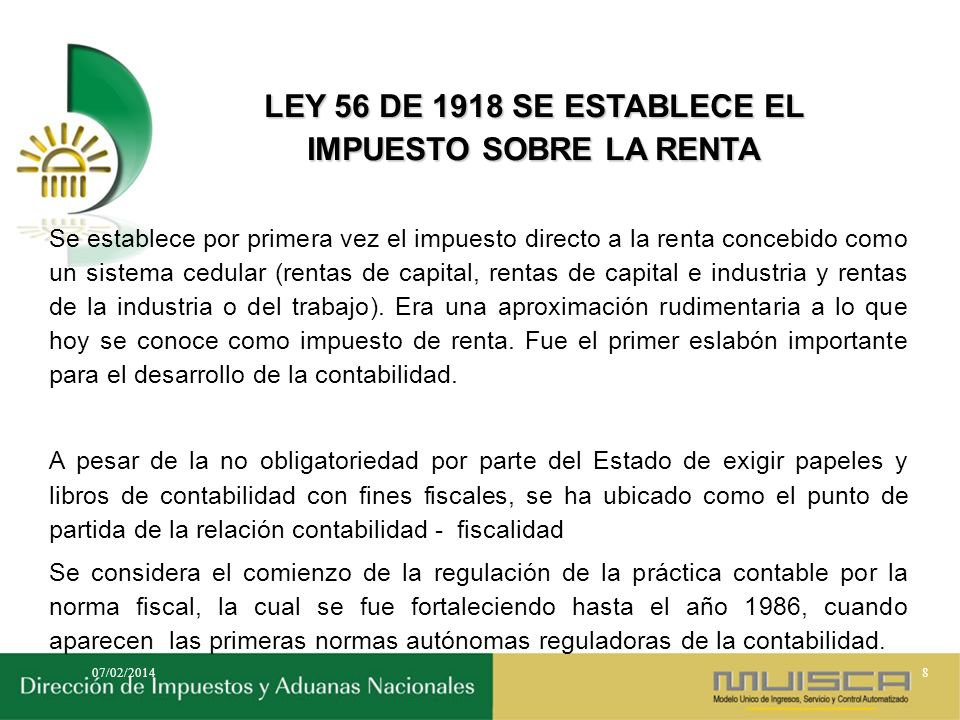 LEY 56 DE 1918 SE ESTABLECE EL IMPUESTO SOBRE LA RENTA
