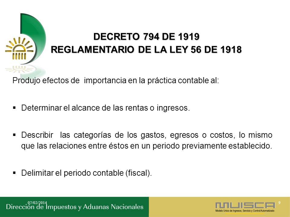 REGLAMENTARIO DE LA LEY 56 DE 1918