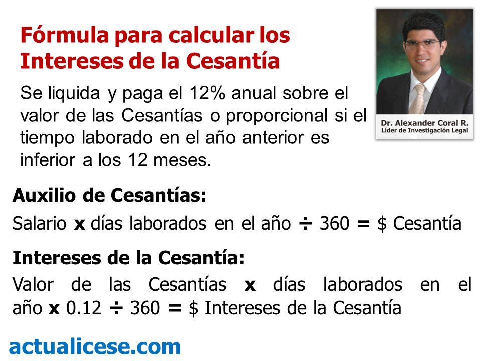 Fórmula para calcular los Intereses de la Cesantía