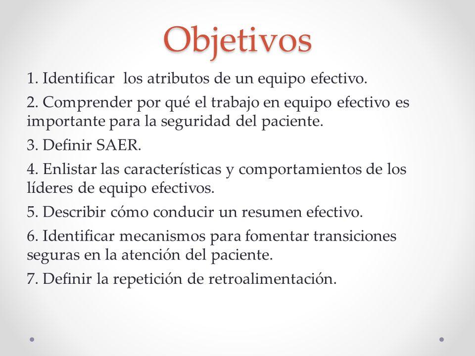 Objetivos 1. Identificar los atributos de un equipo efectivo.