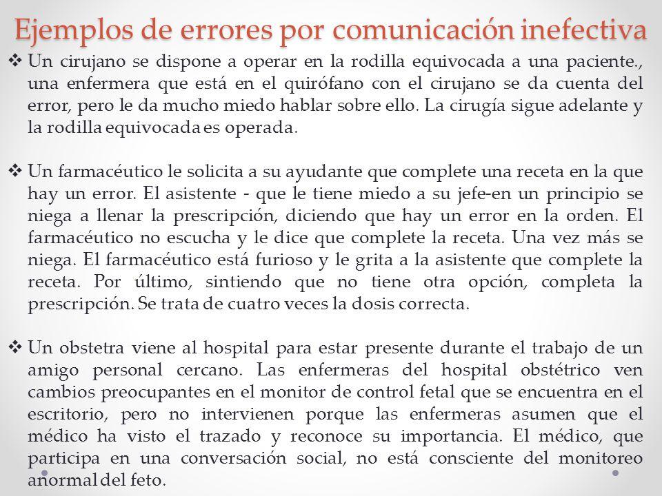 Ejemplos de errores por comunicación inefectiva