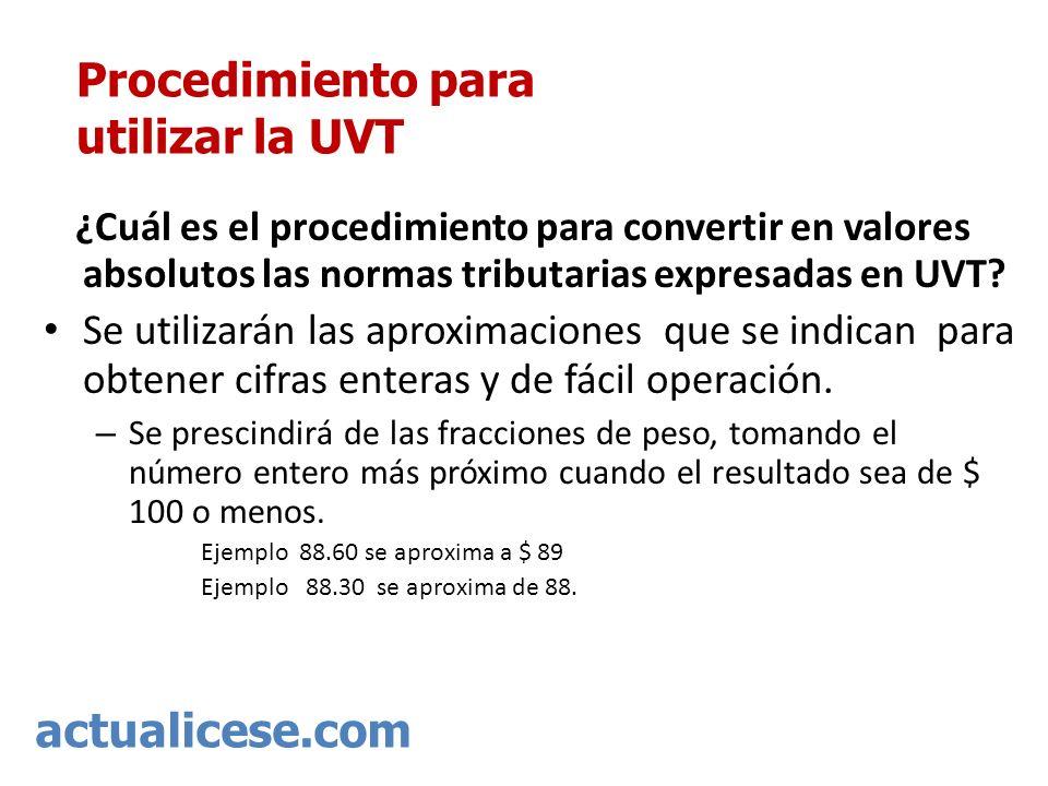 Procedimiento para utilizar la UVT