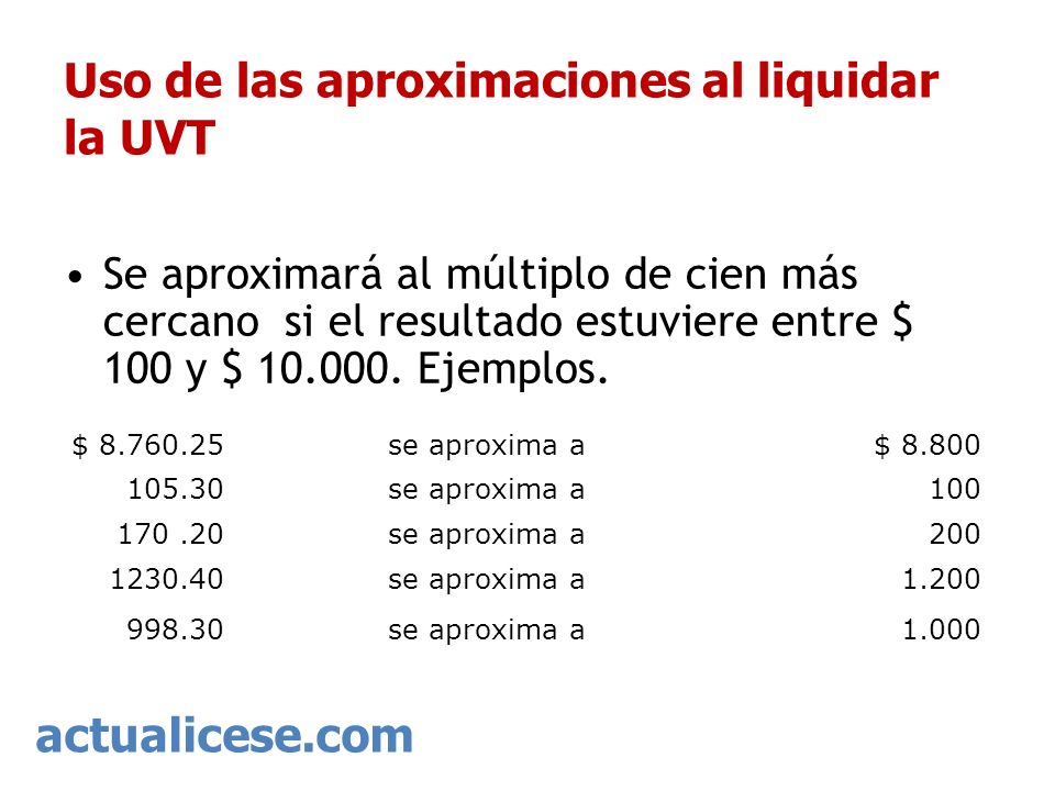 Uso de las aproximaciones al liquidar la UVT