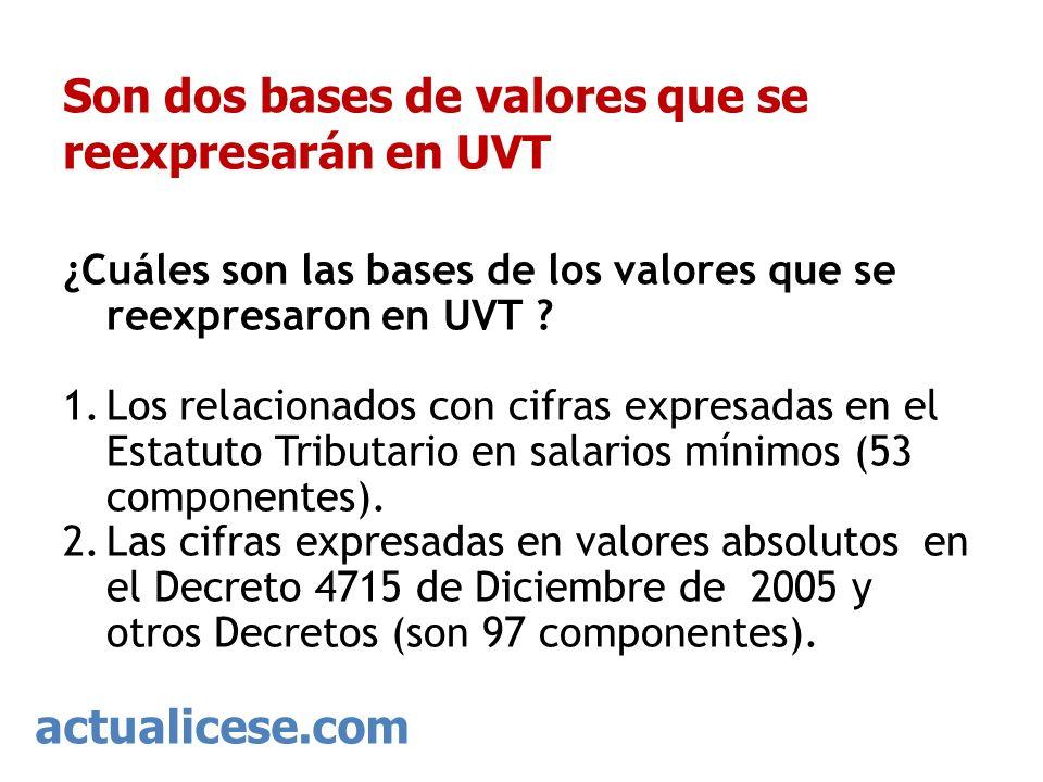 Son dos bases de valores que se reexpresarán en UVT