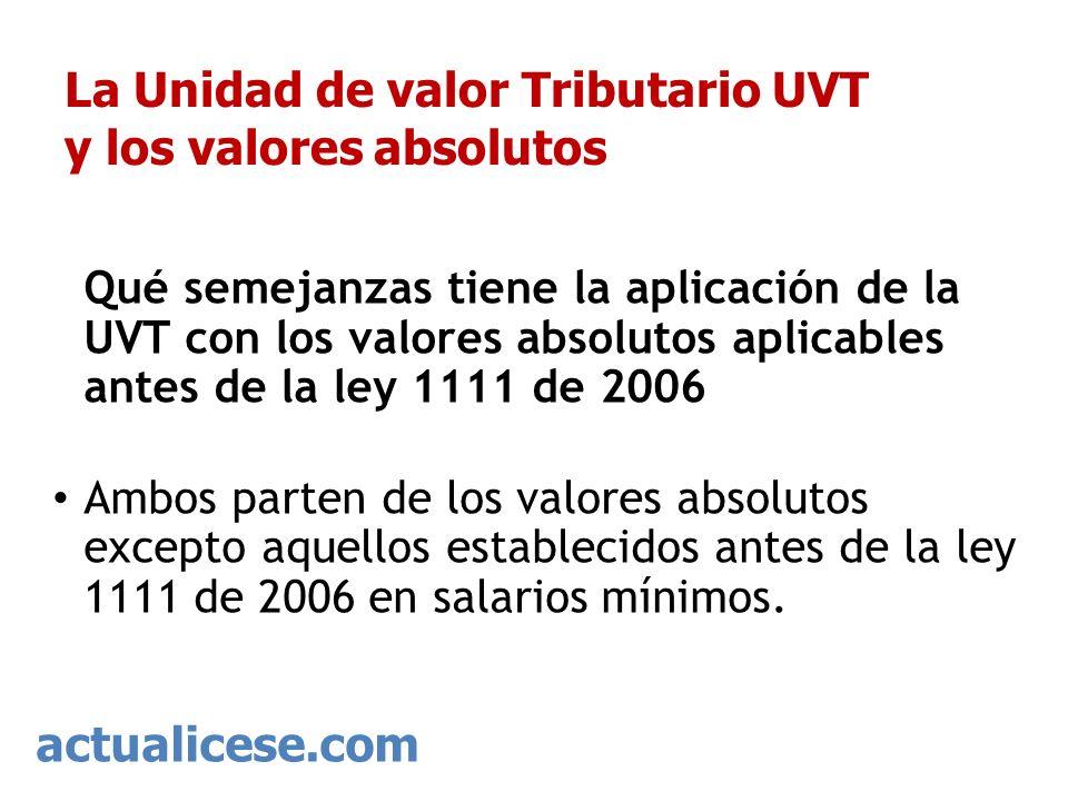 La Unidad de valor Tributario UVT y los valores absolutos