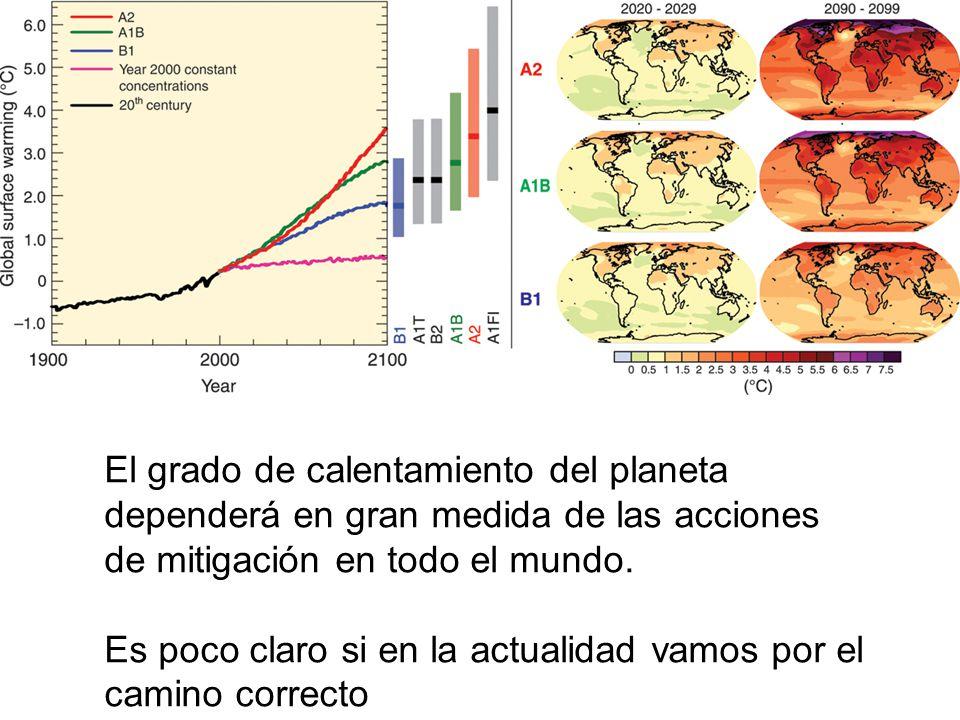 El grado de calentamiento del planeta dependerá en gran medida de las acciones de mitigación en todo el mundo.