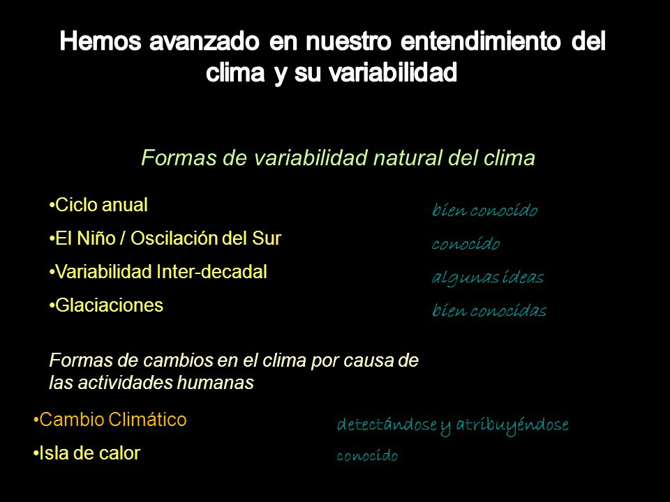 Formas de variabilidad natural del clima