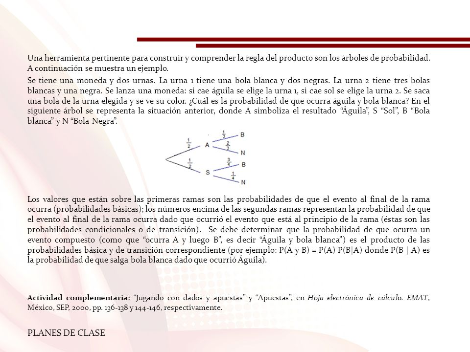 Una herramienta pertinente para construir y comprender la regla del producto son los árboles de probabilidad. A continuación se muestra un ejemplo.