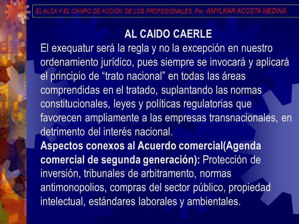 EL ALCA Y EL CAMPO DE ACCIÓN DE LOS PROFESIONALES