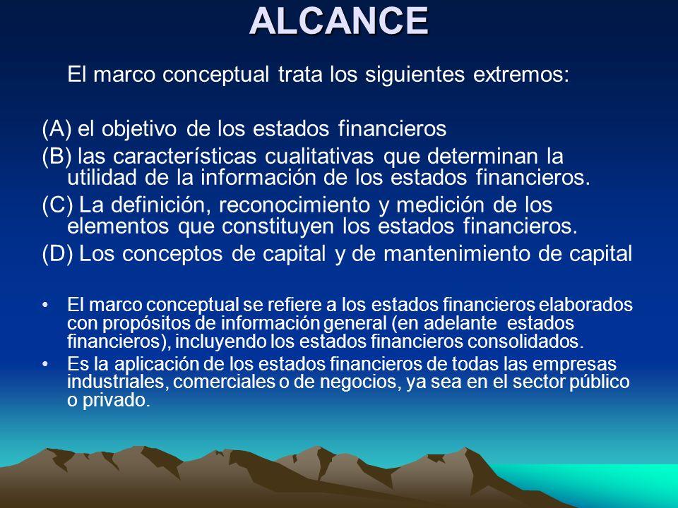 ALCANCE (A) el objetivo de los estados financieros