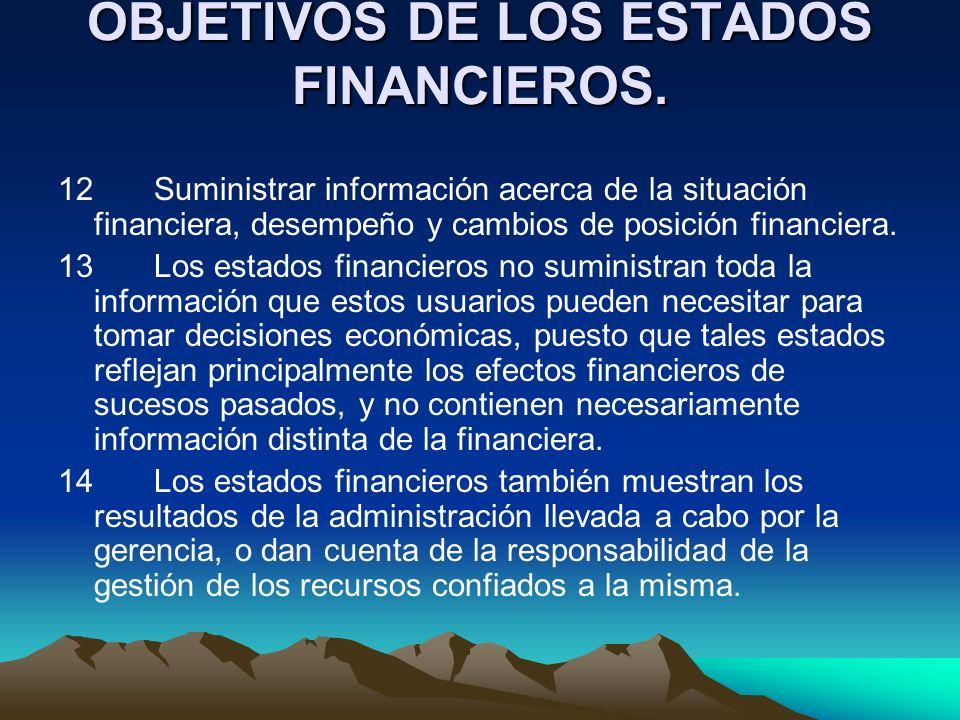 OBJETIVOS DE LOS ESTADOS FINANCIEROS.