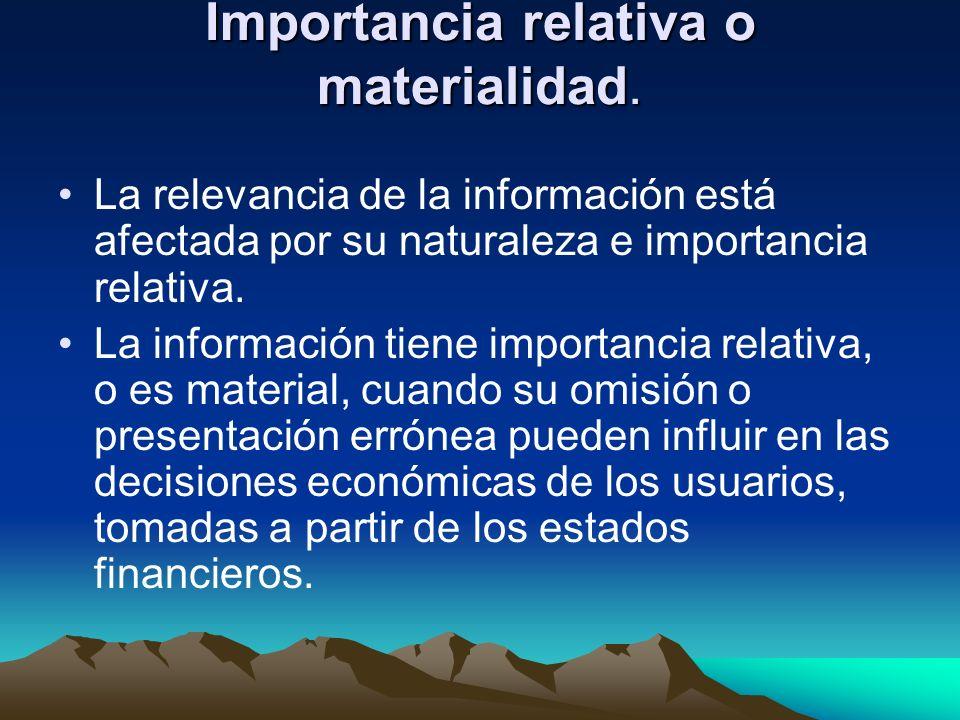 Importancia relativa o materialidad.