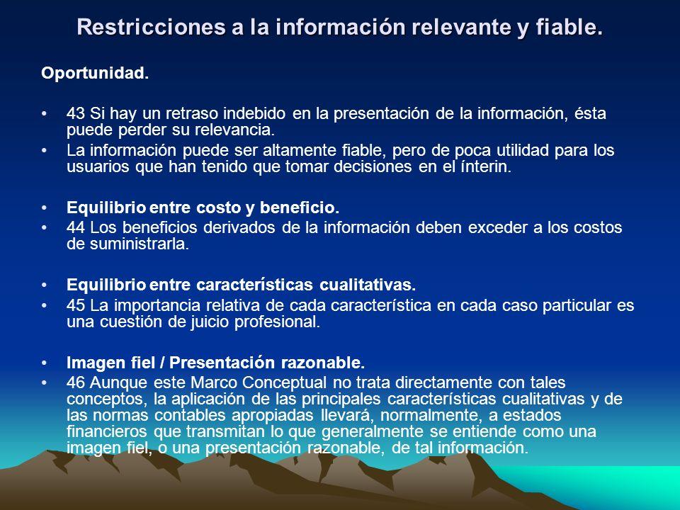 Restricciones a la información relevante y fiable.