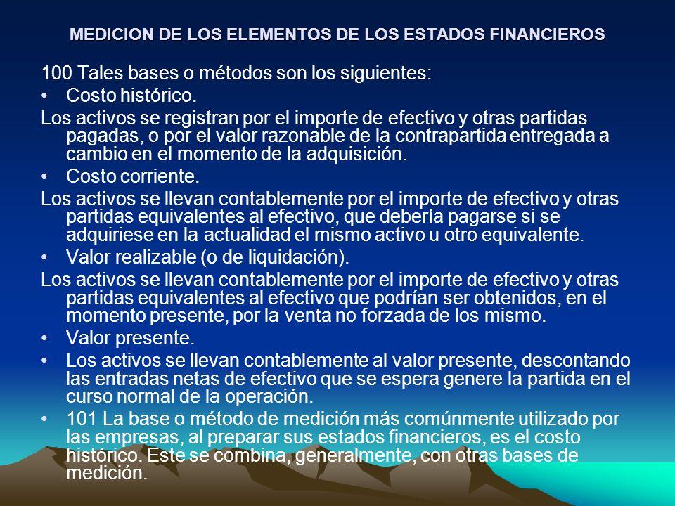 MEDICION DE LOS ELEMENTOS DE LOS ESTADOS FINANCIEROS