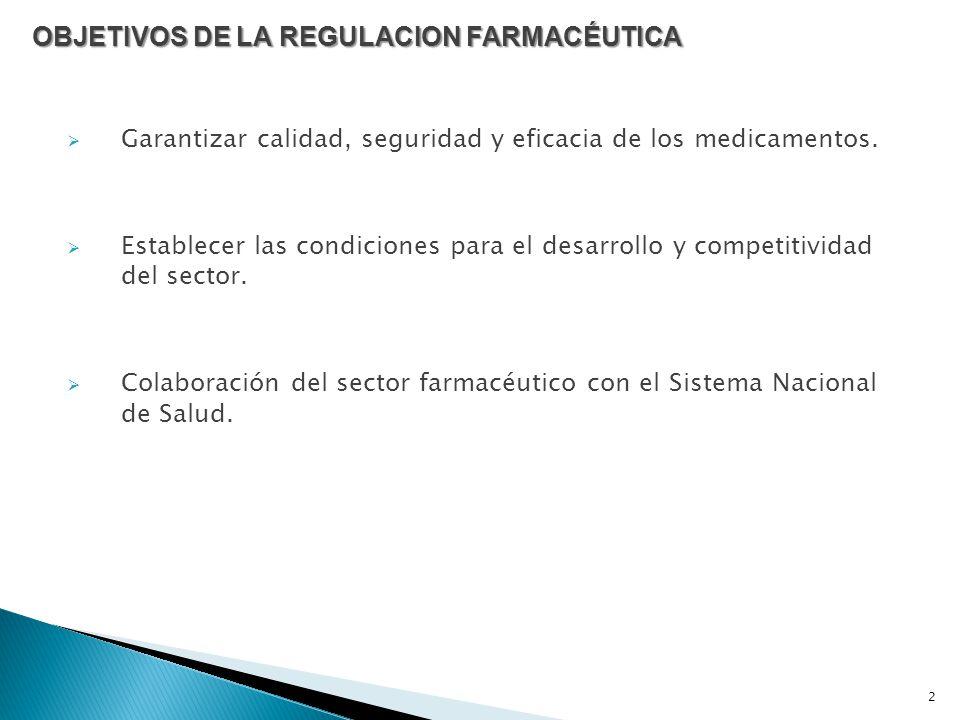 OBJETIVOS DE LA REGULACION FARMACÉUTICA