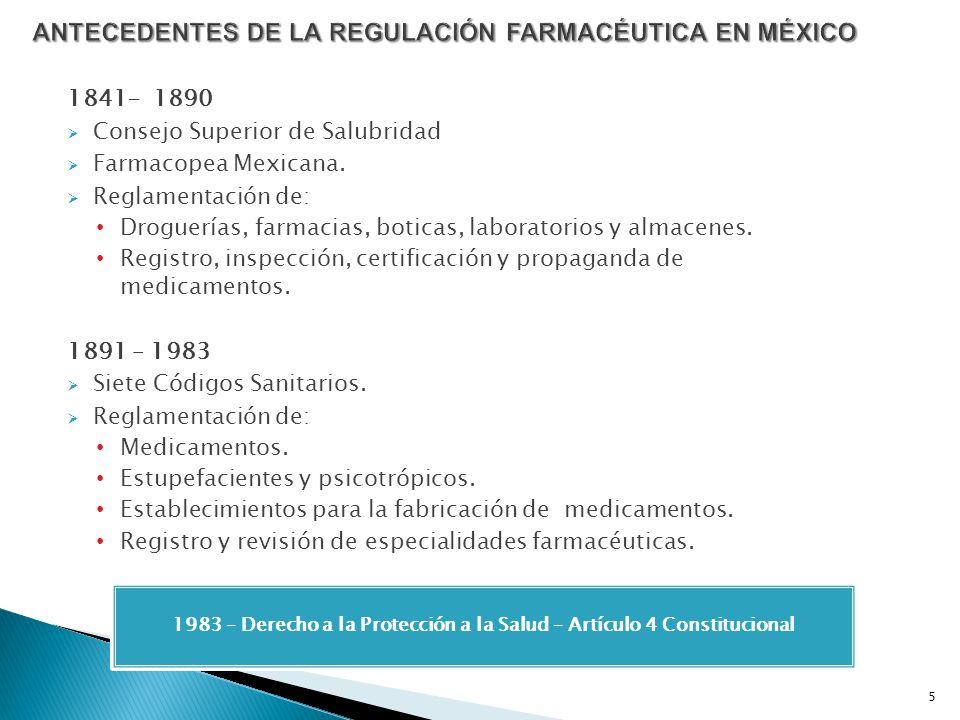 ANTECEDENTES DE LA REGULACIÓN FARMACÉUTICA EN MÉXICO