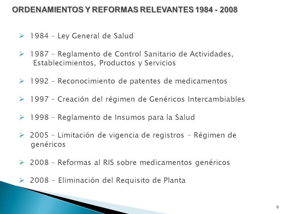 ORDENAMIENTOS Y REFORMAS RELEVANTES 1984 - 2008